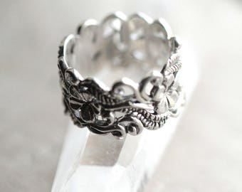 925 Sterling Silver Ring, Boho Ring, Bohemian Ring, Gypsy Ring, Vine Ring, Statement Ring, Filigree Ring, Nature Inspired Ring, Pretty Ring