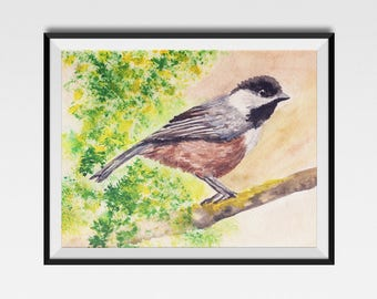 CHICKADEE PRINT, Cute Watercolor Bird, Chickadee Art Print, bird art, chickadee art, bird print, chickadee, Bird watercolour, Valentines day