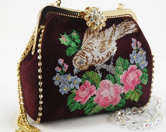 Evening handbag Embroidered Bag  Suede bag  IPhone Pouch  vinous  with embroidered  Evening bag clutch clasp bag  Maroon bag  Beautiful gift