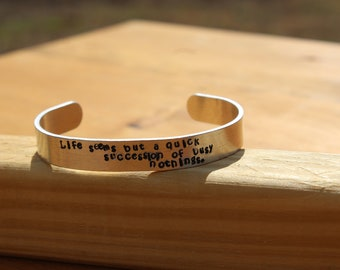 """Jane Austen - Mansfield Park Quote Bracelet - """"Life seems but a quick succession of empty nothings' - metal stamped cuff bracelet"""