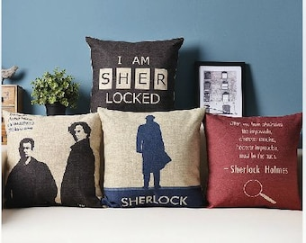 Lovely Sherlock theme pillow cases blue red black