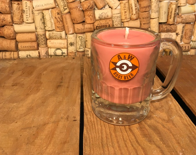 Vintage A&W mug with a Soy Indian Sandalwood Candle