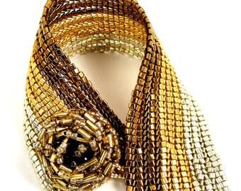 Striped Bracelet, Silver Bracelet, Copper Bracelet, Gold Bracelet, Wide Beaded Cuff, Mixed Metals Bracelet, Metallic Jewelry