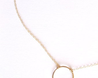 Gold Circle Necklace - 14k Gold or Sterling Silver - Minimalist Necklace - Bridesmaids Gift - Eclipse Necklace - Layering - Wire Wrapped