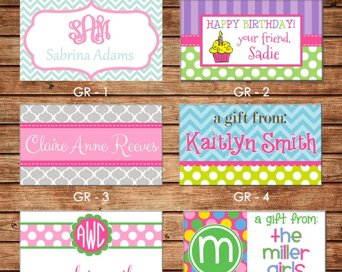 20 Printed Girl Rectangle Gift Tags Enclosure Cards Stickers - Can personalize - Choose ONE design