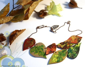 Leather Leaves Necklace. Colorful Fall Necklace. Autumn Leaves Necklace. Statement Fall Necklace with Hand pained Leather Leaves