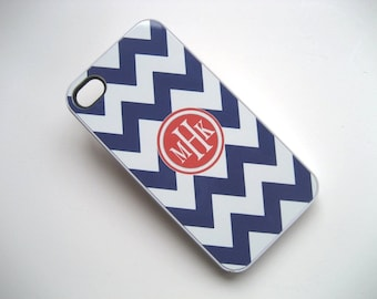 iphone case - Navy Blue and White Chevron iPhone 4 Case with Tangerine Monogram  - iPhone 4 4S Cover - Hard WHITE plastic case