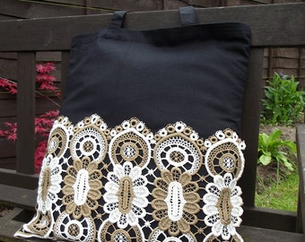 Vintage Lace covered Tote Bag - useful reusable shopping bag - Sandra - black and cream