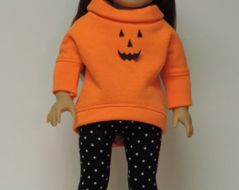 18 inch doll clothes Halloween slouchy top, leggings