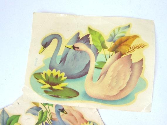 Vintage Swan Paper Transfers Decoupage Art Paper Ephemera Decals Mid Century Birds Collage Paper