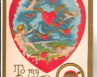 Vintage Valentine Postcard, Cupids Shooting Arrows at Winged Hearts, 1908
