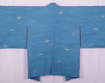 Japanese Kimono Shop Blue Haori with a Mountain Design - unused condition -  A Beautiful and Unique Jacket!