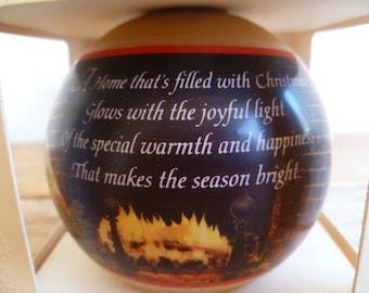 "Hallmark Glass Christmas Ornament ""Christmas At Home"" in Box 1980"
