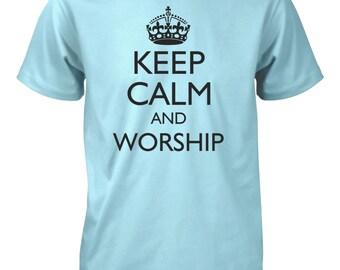 Keep Calm and Worship Music Band Jesus God Christian Tshirt
