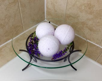 Lavender Bath Bomb with Mango Butter and Epsom Salt, 3.5 oz or 7 oz Scented Bath Bombs, Lavender Bath Fizzy, Bath Fizzies