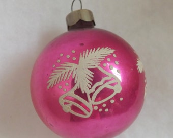 Vintage Christmas ornament pink ornament glass ball ornament stencil ornament bells evergreen branches and snow no 1