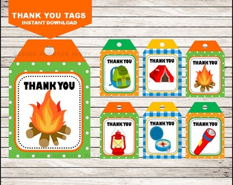 camping Thank you tags instant download, camping Tags, camping Party Thank you tags