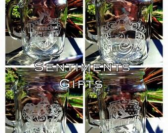 Set of 4 Engraved Harry Potter Mason Drinking Jars - Ravenclaw, Gryffindor, Hufflepuff + Slytherin - New