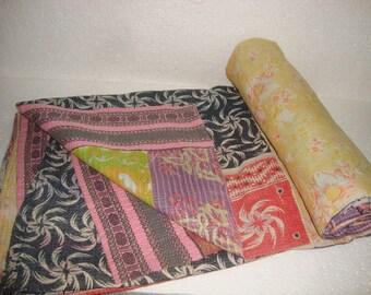Vintage Fine Kantha Quilt Reversible Throw Bedspread Bedding E1388