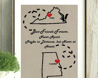 Best Friend Gift, Moving Gift,Graduation Gift, Best Friends Forever,Long Distance,Wall Art,Remember Me,Gift for Friend, Map with hearts, Art