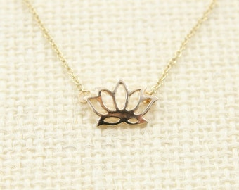 Lotus Flower Layering Necklace Necklace Gold Filled, Layer Layered Layering Simple Minimal Everyday Dainty Jewelry Modern