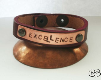 Excellence leather and copper bracelet 7-8 inch wrist