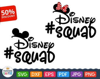 Disney Squad Svg Cut File #DisneySquad Clip Art for T-shirs Vinyl Decal Cricut Silhouette Instant Downloads Iron on Transfer dxf png eps pdf