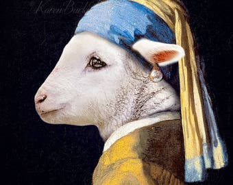 Whimsical Lamb Print, Girl with a Pearl Earring, Funny Lamb Print, Funny Animal Art, Old Masters, Fine Art, Lamb Portrait, Photography Print