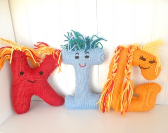 Alphabet Eco Friendly Learning Toy,  Handknit Letter Stuffed Plush,  Back to School, Custom knit