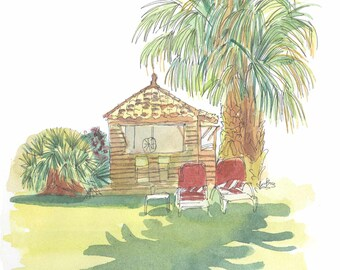 Bungalow and palm trees- Watercolor Painting-Art print