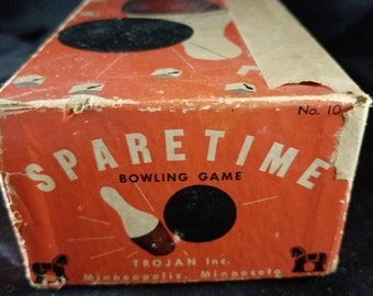 Spare Time Bowling Game With Box Vintage Family Bowling Dice Game