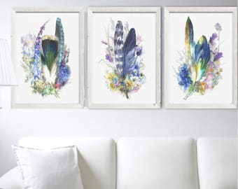 Feather Print Set 3 Watercolor Painting Feather Art Watercolour Blue Flowers Watercolor Painting Feather Poster Minimalist Botanical Art