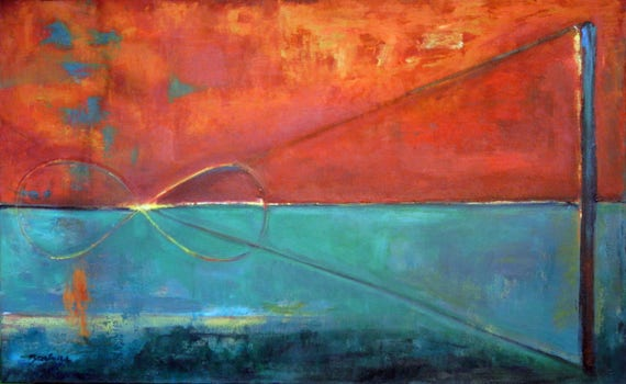 Huge Painting ABSTRACT Art Orange Turquoise Perpetual Decor Art  48x30 by BenWill