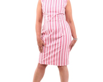 Pink and White Stripped Pencil Dress, retro style dress with pencil skirt, striped, stripy, retro, party dress, for her, pencil, handmade
