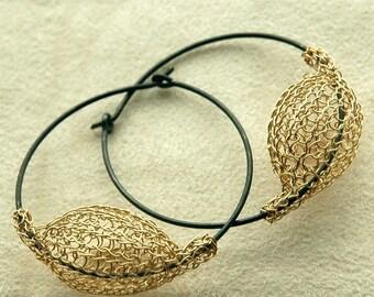 Gold and silver large earrings - gold hoop earrings - original handmade design- Gypsy bohemian fashion