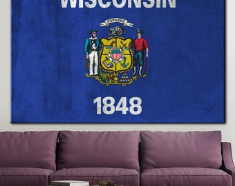 Flag of Wisconsin, Wisconsin state flag, Wisconsin digital print, Wisconsin state, Wisconsin canvas, Wisconsin, art and collectibles