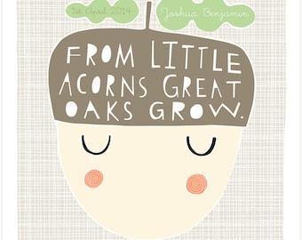 Little Acorns - Personalised Birth or Christening Print