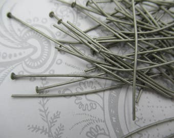 Antiqued Silver Head Pins - 19 gauge / 20 gauge Headpins - 2 inch - 50mm X .8mm - Oxidized  - Qty 60 pieces