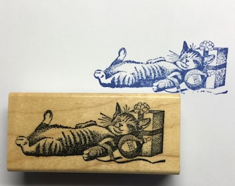Mounted Wooden Rubber Stamp Cat Nap With Gift