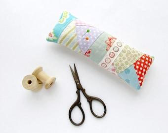 Pincushion patchwork, Needle holder, Pin cushion polka dots, Floral OOAK pincushion, Purple cushion, Blue and pink pincushion, small gift