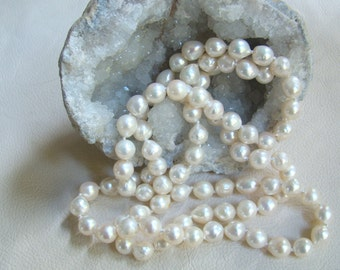 8.5mm 33 Inch Continuous Single* Strand Baroque Akoya Pearl Necklace