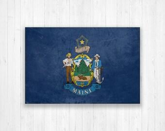 Maine Flag Canvas, Single Panel Large Canvas, Three Panel Large Canvas, Maine Flag, Large Canvas Wall Art, Vintage Flag on Canvas