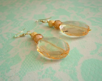 Peach Acrylic Crystal Dangling Earrings