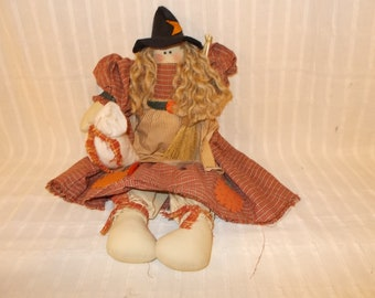 Country Witch - Adorable Handmade Country Doll - Halloween - Free Shipping