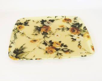 Fiberglass tray / floral / 50s