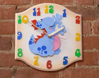 Dinosaur Clock - Childrens silent ticking wall clock, perfect for Bedrooms, Nursery Rooms , Playroom