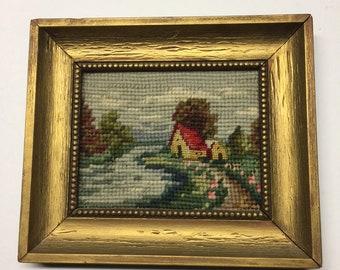 Antique House in Landscape Framed Needlepoint