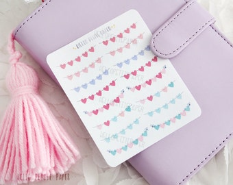 Mini heart banner stickers - 16 decorative planner stickers, pink and mint