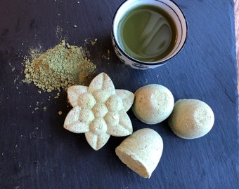 Matcha Bath Bomb -  Detox Herbal Matcha Green Tea Bath Bomb - Organic Essential Oils