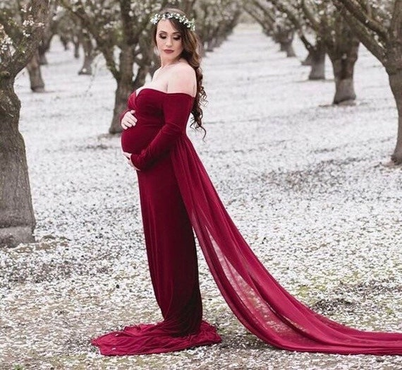 maternity gown•attached chiffon•baby fitted shower prop•photo dress•train dress•photographer 35 shoot colors•Maternity dress gown•maternity I6wCUqU8x